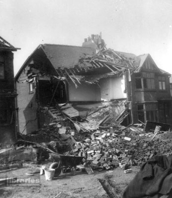 Air raid damage at Hill Road, Castleford