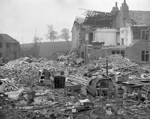Bomb damage on Thornes Road, Wakefield, March 1941