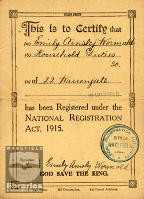 National Registration card, Wakefield