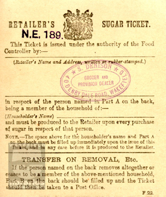 Retailer's sugar ticket for S.Denison, Denby Dale Road, Wakefield