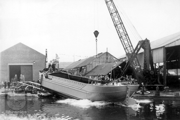 A launch at Harkers Shipyard, Knottingley