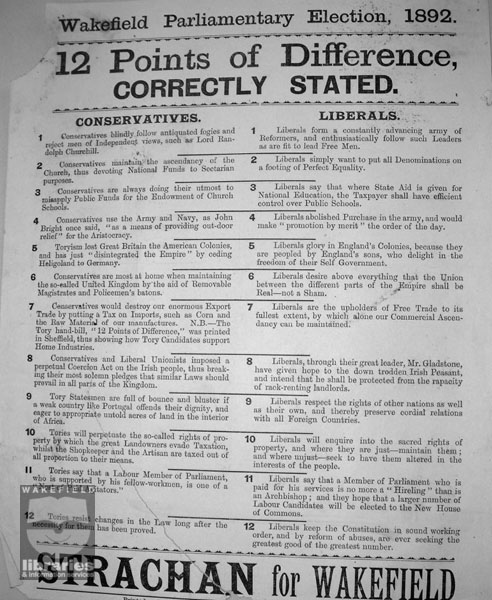 Wakefield Parliamentary Election campaign poster for T.Y.Strachan, 1892